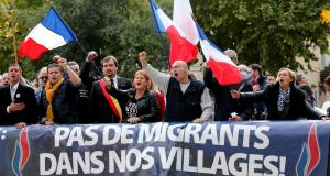 The caption reads: No immigrants in our village.