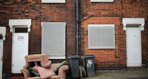 Scene resulting from foreclosures of workers' homes in  Stoke-on-Trent