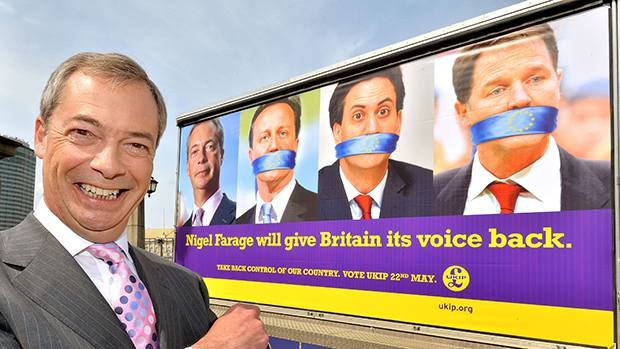 Image: Racist Nigel Farage ravished by the results
